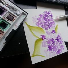 Painting a card for my neighbour's 50th anniversary :) #lilacs #watercolor #cards #mail #oldschool