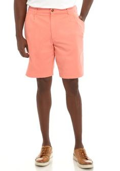 NWT Saddlebred Men/'s Big /& Tall 50 Salmon Red Coral Flat Front Chino Shorts $44!