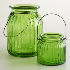 One of my favorite discoveries at WorldMarket.com: Green Ribbed Glass Lantern Candleholders