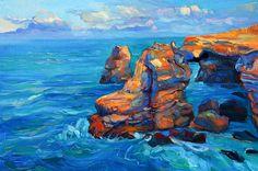 Rocks Landscape painting  24x16 in Modern by artnikolov on Etsy, $260.00