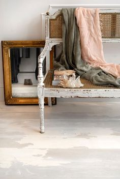 Vintage bech painted in white