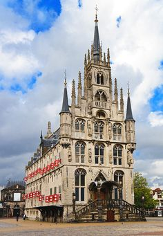 Afternoon view of Gouda Town Hall built between 1448 and 1450, one of the oldest Gothic city halls in the Netherlands, by linask