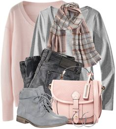 casual pink and grey fall outfit combination