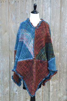 Handwoven 100% wool poncho, 7 foot triangle wool shawl, poncho, handwoven Fall wrap, triangle shaped poncho