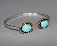 open cuff bracelet with turquoise by MyFascinationStreet on Etsy