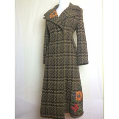 Beautiful Oilily long tweed coat Heavy long tweed coat in browns and greens with embroidered flowers at lapel and bottom.  Quality made - perfect condition. Made in Hungary - size 36. Oilily Jackets & Coats