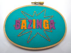 """""""Once again, you've fallen for one of my classic pranks. Bazinga!"""" - Big Bang Theory Embroidery by BananyaStand on Etsy"""