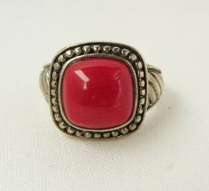 Vintage Red Coral Cabochon Ring 925 Sterling Silver Size 6