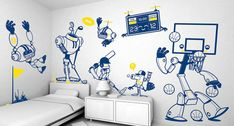 Giant Wall Stickers sets Kids room decoration from e-glue - Architecture and Interior Design Trends Wall Sticker Design, Kids Wall Decals, Wall Stickers, Custom Stickers, Poster Mural, Diy Wall Painting, Wall Paintings, Wall Art, Decoration Stickers