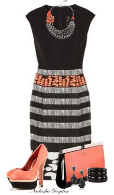 """Coral and Black"" by natasha-gayden on Polyvore"
