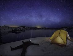 Take Time To Think and See The Beautiful Stars On The Sky   Crater Lake, National Park, USA