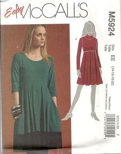 "McCall's 5924 Misses' dresses in two lengths, have bodice 4"" above waist, pleated skirt and side pockets. View A with contrast band. For stretch knits only such as poly or cotton knits or jersey. Sizes 14-20. About 2.75 yds for 20 with long sleeves. Bought in McCall's out-of-print sale for $ 1.99. 2009."