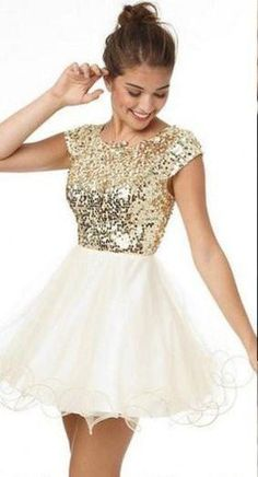 Brightly Shining Gold Sequins Cap Sleeves Lace Homecoming Dresses,Short Ball Gown,Hot 30