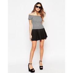 ASOS Skater Skirt in Ponte ($33) ❤ liked on Polyvore featuring skirts, black, pleated skirt, asos, black skirt, black circle skirt and black knee length skirt