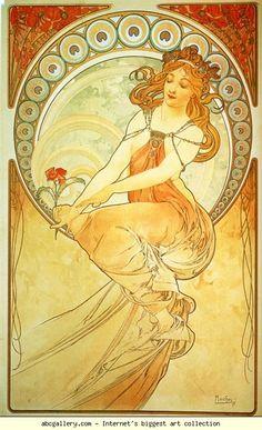 Alphonse Mucha.  Pintura.  De la serie de las Artes.