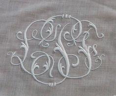 Em's Heart Antique Linens -Monogrammed Antique Organdy Coverlet