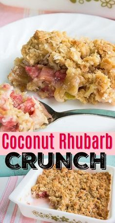 This rhubarb recipe, Rhubarb Crunch with coconut- this sweet and sour crunch ( like a rhubarb crisp but crunchier!) will soon become a new spring and summer favourite! Healthy Rhubarb Recipes, Coconut Recipes, Fruit Recipes, Desert Recipes, Sweet Recipes, Cooking Recipes, Rhubarb Desserts Easy, Rhubarb Ideas, Gourmet