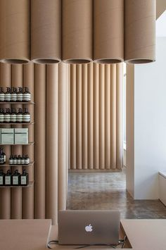 Brooks + Scarpa recycles cardboard tubes and paper for Los Angeles Aesop store interior Commercial Design, Commercial Interiors, Aesop Store, Interior Architecture, Interior Design, Store Interiors, Retail Interior, Jolie Photo, Retail Space