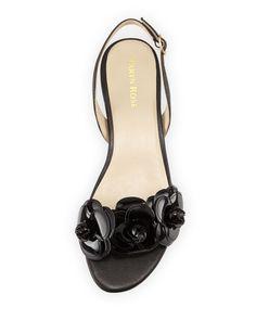 Ida Flower Flat Slingback Sandal, Black