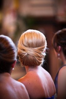 tucked updo    @Gillian Lanyon Thomas. i saw how to do this. i think we can manage it if you can't get a hair appointment. you can add your flower above the bun.