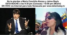 Maria Conchita Alonso y Jaime Bayly ESTA NOCHE a las 9:30 pm (Css) / 10:00 pm (Mia) EN VIVO http://dolartoday.co/dolartoday-en-vivo/