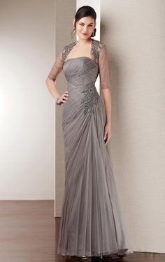 Floor-length A-line Strapless Silver Tulle Mother Of The Bride Dress
