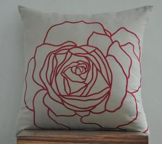 Red Rose pillow Cover Throw Pillow Cover Decorative by KainKain Orange Pillow Covers, Diy Pillow Covers, Orange Pillows, Cushion Embroidery, Rose Embroidery, Red Decorative Pillows, Cushion Cover Designs, Flower Pillow, Sewing Pillows