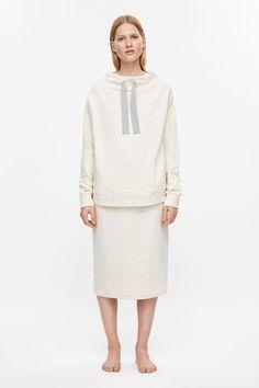 Jersey sweatshirt with grosgrain tie - Ivory - Leisurewear - COS GB