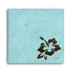 Hibiscus Flower Luau Party Chocolate Brown Blue Envelope