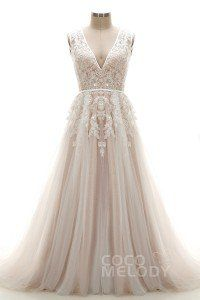 [ AUDAU$ 492.37 ] A-Line V-Neck Tulle and Lace Ivory/Champagne Open Back Wedding Dress
