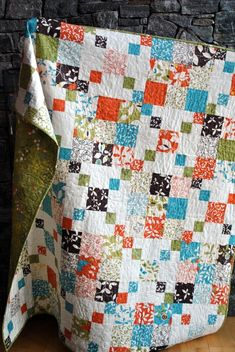 Patchwork QUILT Lap quilt or twin coverlet pattern by sweetjaneRocky Road--very easy!Good way to use up scraps. Layer Cake Quilt Patterns, Layer Cake Quilts, Scrap Quilt Patterns, Layer Cakes, Block Patterns, Fat Quarter Quilt Patterns, Simple Quilt Pattern, Vintage Quilts Patterns, Beginner Quilt Patterns