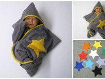 stern star baby wrap kapuzenhandtuch frottee grau