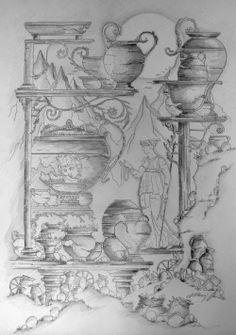 Desenhos à lápis sobre papel Acácia Telado...