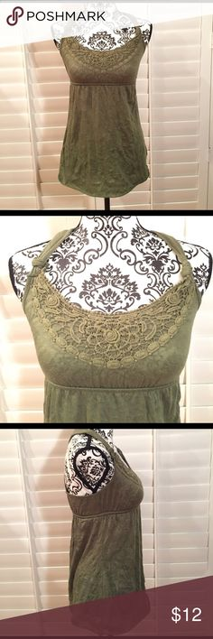 Flowy Tank Top Excellent condition! Crochet design in the front. 100% polyester. Purchased from Macy's Tops Tank Tops
