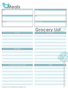 Weekly meal plan/shopping list