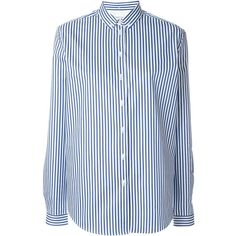 Libertine-Libertine Bando Button Down Shirt (175 CAD) ❤ liked on Polyvore featuring tops, blue, blue button down shirt, striped shirt, button up shirts, striped long sleeve shirt and blue shirt