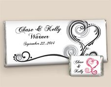 Regal Elegance Candy Bar Wrappers: Graceful Swirling Hearts with Your Personalization