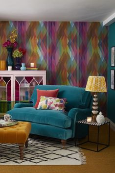 Getting cosy for Autumn cosy corner of a living room designed by Sophie Robinson. Cole and son prism Teal Living Rooms, Colourful Living Room, New Living Room, Living Room Sofa, Living Room Designs, Living Room Decor, Teal Living Room Color Scheme, Living Room Wall Colors, Teal Color Schemes