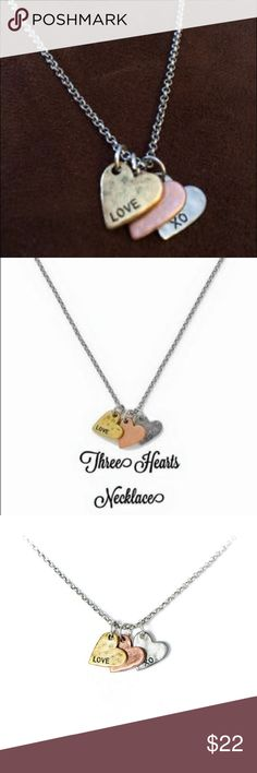 Three Hearts Necklace, perfect for Valentine's Day Thirty-One's Three Heart necklace with the engravings Love & XO Perfect for Valentine's Day or anytime that you want to show your love & hugs & kisses 😘 Trio of hearts in mixed metals. Thirty-One Jewelry Necklaces