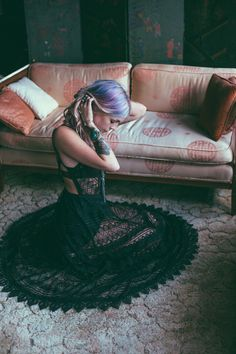 melodi meadows - free people gypsy black sheer dress  lavender hair.