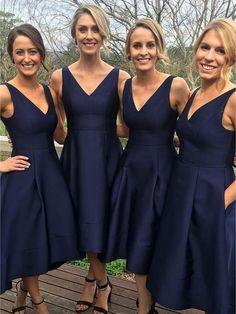 A-line V-neck Navy Satin Wedding Party Bridesmaid Dresses APD2753