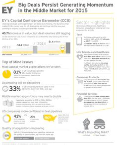 Big deals persist generating momentum in the middle market for 2015.  Divestitures ongoing; industries poised for activity include technology, life sciences, healthcare, consumer products and financial services. #EY