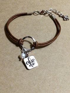 Leather Handmade Bracelet with Freshwater by FleurDeLisBowtique, $20.00
