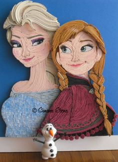 quilled  characters  of   the  movie  Frozen