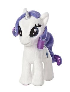 """6.5"""" RARITY has a pure heart to always care for her friends. This cute 6.5? standing version has shimmery sculpted purple hair and also features her infamous diamond Cutie Mark."""