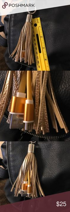 Android cell phone  mini USB purse tassel charger This is a gold tassel wear it on your purse have a decorative purse and always have a phone charger close by Accessories Phone Cases