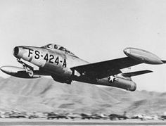 A bomb-laden U.S. Air Force Republic F-84E-15-RE Thunderjet (s/n 49-2424) from the 9th Fighter-Bomber Squadron, 49th Fighter-Bomber Wing/Group, taking off for a mission in Korea. This aircraft was shot down by flak on 29 August 1952.