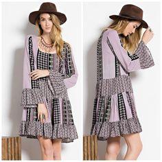 Long Sleeve Mutli Pattern Boho Babydoll Dress