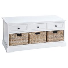 Wood storage bench in white with 3 drawers and 3 woven baskets.     Product: Storage benchConstruction Material: ...