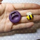 Cute Bee (18mm) Push Mold, Polymer Clay Mold, Resin Mold, Icing Fondant Mold, Jewelry Mold, Chocolate Mold